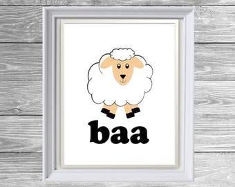 PRINTABLE Sheep (baa) - Baby Nursery Room Sign/Decor