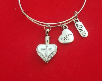Silver Heart Cremation Jewelry,  Mom Urn