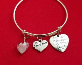 Silver Glass Heart Godmother Charm Bracelet
