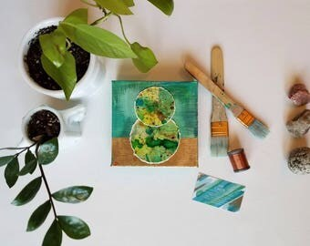 "Green + gold embroidered mixed media watercolor + acrylic painting // Nature Inspired expressionism on canvas //  ""Balance. 2"" // 6x6"