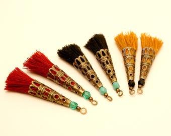 6 tassels mustard, 45 mm, Maroon, black tassel, Pearl Turquoise, Bronze tassel