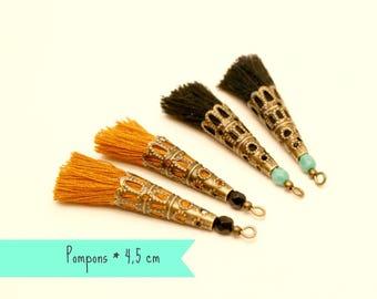 4 tassels black, mustard, Turquoise bead, Bronze