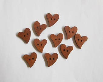 Brown wooden heart buttons, Dark heart shaped wood button, Set of 10 sewing supplies