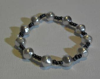 Bracelet Pearl nuggets and seed beads