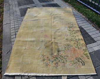 Floral Design Vintage Rug Free Shipping 4.8 x 7.9 feet Runner Rug Turkish Rug Vintage Oushak Rug Bohemian Rug Nomadic Area Rug DC1204