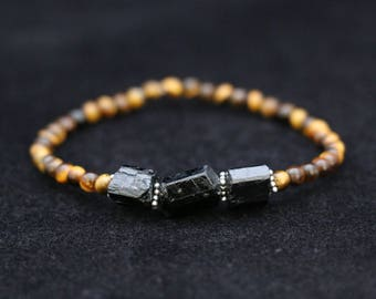 No. 18 Tiger Eye, Black Tourmaline and Sterling Silver Bracelet (Handmade)