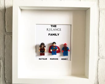 Personalised Lego Family Frame / Gift for Her / Family Gift / Superhero Frame / Gift for Him / Family Frame / New Home Gift / New Baby Gift