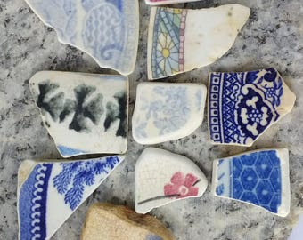Ten pieces of Sea smoothed Pottery
