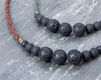 Macrame necklace, handmade jewelry, lava rock necklace