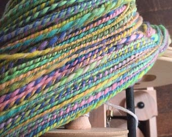 Hand Spun Yarn, Hand Dyed Merino Yarn, 2 Ply Yarn, Knitting Yarn, Weaving Yarn, Crochet, Paste Rainbow