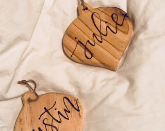 Personalized Wooden Ornament | Hand Lettered