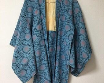 Vintage Japanese  kimono Jacket, Silk crepe Haori, blue pink hexagon light blue  /0037