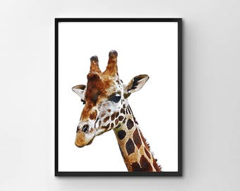 Giraffe Print, Giraffe Wall Art, Baby Animal, Printable, Digital Download, Baby Art, Kids Room Art, Giraffe Watercolor, Baby's Room Decor