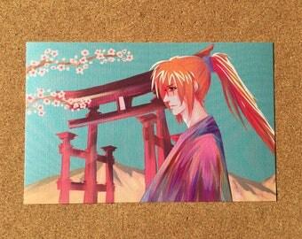 """Kenshin Himura Samurai X Rurouni Kenshin Fanart Art Print 8.5x5.5"""""""