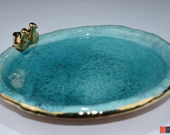 Gold-birds Large Turquoise Plate, Handmade Luxury Ceramic, Melbourne