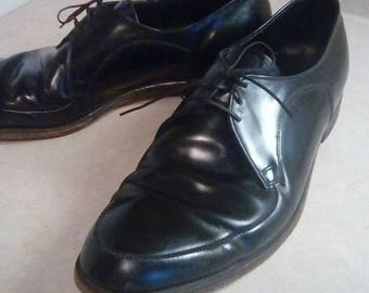 Vintage Black Leather The Curtis Jarmon Wing Tip Oxford Shoes Cushion On Tread