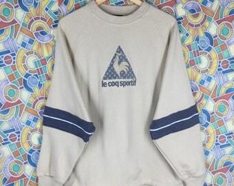 rare ! vintage le coq sportif big logo jumper pullover crew neck sweatshirt