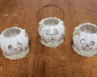 Lenox Thanksgiving Halloween Pumpkin Votive Candle Holders Set of 3
