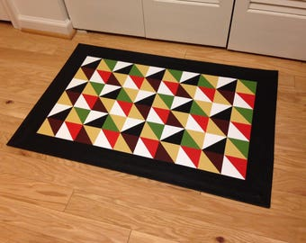 Area Rug, Hand-painted Floorcloth Rug - Quilt Pattern