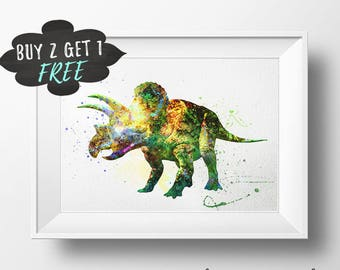 Dinosaur Printable Art Print, Triceratops Dino Poster Art Print Poster, Triceratops Wall Art Nursery Decor Watercolor, Dinosaur Decor