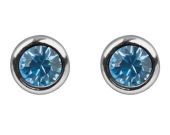 925 Sterling Silver Round Aquamarine SWAROVSKI CRYSTAL Stud Earrings | March Birthstone | 4mm | Bridal Jewellery | March Birthday | SIEFF