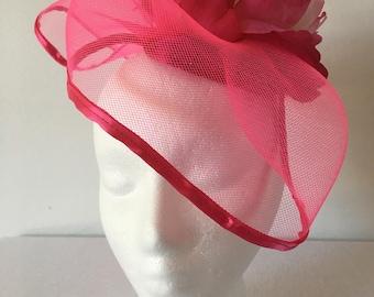 Fuchsia Pink Fascinator Hat, Pink Sinamy base, Tea Party Hat, Women's Hat, Church Hat.