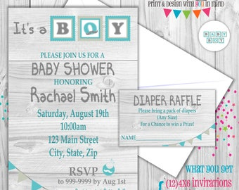 Rustic Baby Boy Baby Shower invitation set of 12