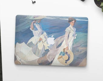 "Joaquin Sorolla, ""Walk on the Beach"". Macbook 15 skin, Macbook 13 skin Pro Air, Macbook 12 skin. Macbook decal. Macbook Art skin."