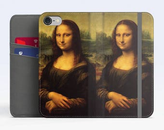 "Leonardo Da Vinci, ""Mona Lisa"". iPhone 8 Wallet case, iPhone 7 Wallet case  iPhone 6 Plus Wallet case. Samsung Wallet cases."