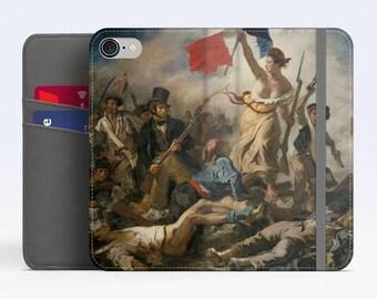 """Eugène Delacroix, """"Liberty Leading the People"""". iPhone 8 Wallet case, iPhone 7 Wallet case  iPhone 6 Plus Wallet case. Samsung Wallet cases."""