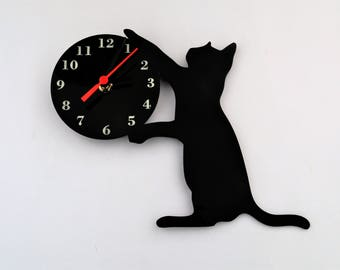 Black Cat Clock Acrylic