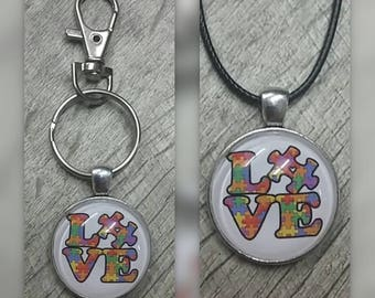 LOVE Autism awareness necklace or key chain