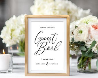 Guest Book Sign Printable, Wedding Guest Book Sign Printable, Calligraphy Wedding Guest Book Sign, Wedding reception sign Instant Download