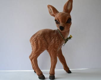 Extra large flocked deer 13 1/2 inches tall