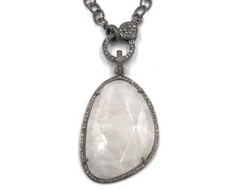 Short diamond moonstone necklace, Sterling silver necklace, Pave diamond jewelry, Diamond necklace, Diamond pendant, Moonstone necklace