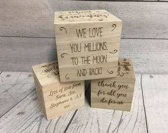 Personalised Engraved Wood Cube Building Block - Mothers Day Gift - Mum Birthday