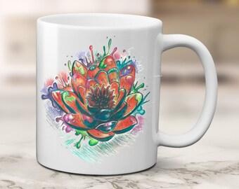 Lotus Coffee Mug, Flower Coffee Mug, Original Art, Gift For Mom, Tattoo Design, Lotus flower Coffee mug, Gift from Child, Gift to child