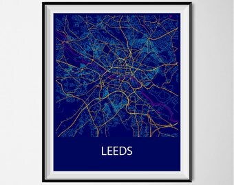 Leeds Map Poster Print - Night