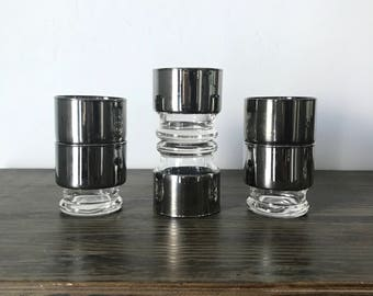 SET OF 4 -Vintage Mid Century Mercury Glass Low Ball Glasses -Silver Fade Dorothy Thorpe -Queen's Lusterware
