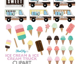 Ice cream clipart, Ice cream Clip Art, Food Truck Graphics, Popsicle clipart, Sweet clipart, Cute Clipart, Commercial Use, instant download