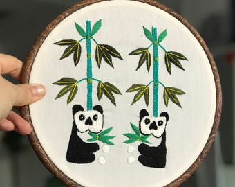 Chinese Panda embroidery/ Yard flowers and bamboo