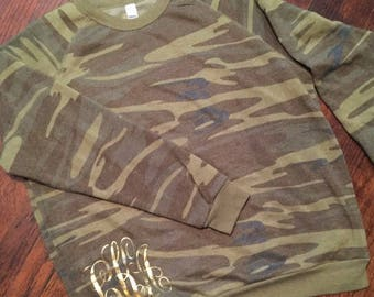 Monogram Pullover / Camo Pullover / Fall Pullover / Gold / Gifts For Her / Custom Pullover / Customized / Personalized Pullover /