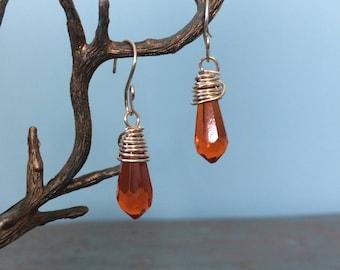 Orange crystal earrings