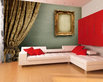 Frame and curtain wallpaper  || Peel & stick || self adhesive and removable || Reusable || High Quality materials || DIY