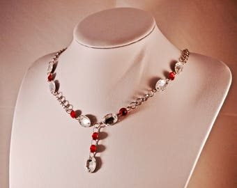 Sterling Silver Chainmaille Necklace with Red and White Swarovski Crystals