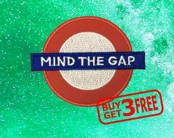 Mind The Gap Sign IRON ON PATCH funny patches Sign Patch Applique