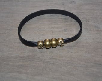 Men's leather skull bracelet