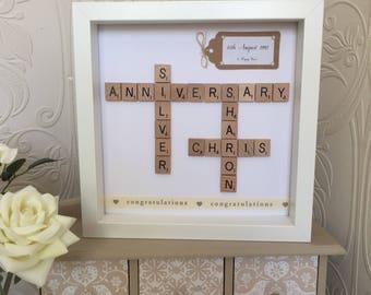 25th wedding anniversary engraved frames silver