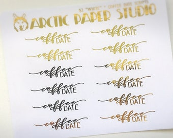 Coffee Date - SCRIPTS - FOILED Sampler Event Icons Planner Stickers