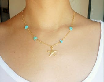 Gold-filled Starfish necklace with turquoise